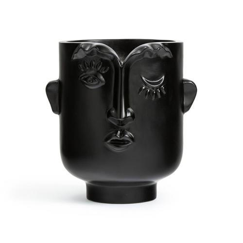 cache pot visage noir