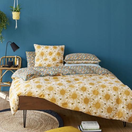 parure de lit imprime jaune