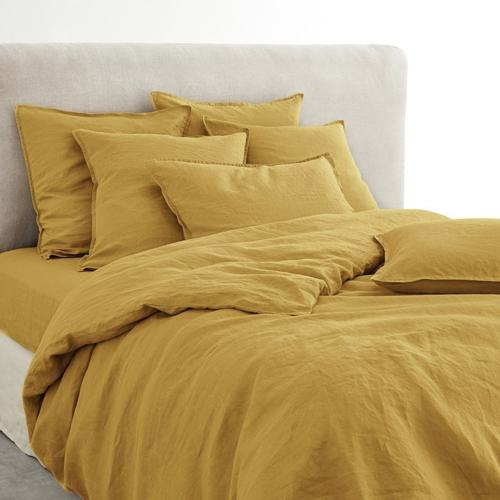 parure de lit en lin jaune safran