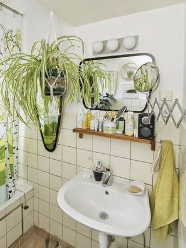 salle de bain vintage plantes vertes