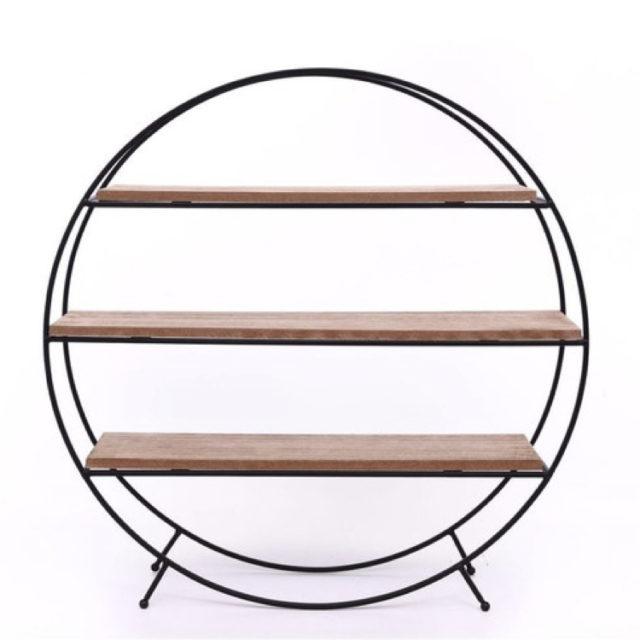 Etagère ronde à poser bois et métal