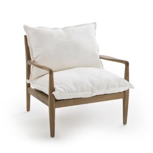 fauteuil rétro mid century bois et blanc