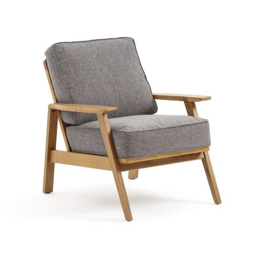 fauteuil deco vintage gris et bois