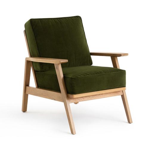 fauteuil rétro velours vert