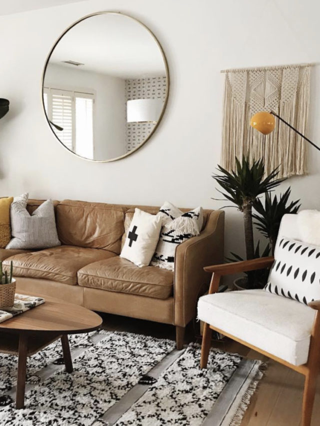 joli petit salon canapé cuir style slow