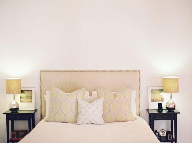 visite deco vintage chambre modern glam epurée tête de lit beige