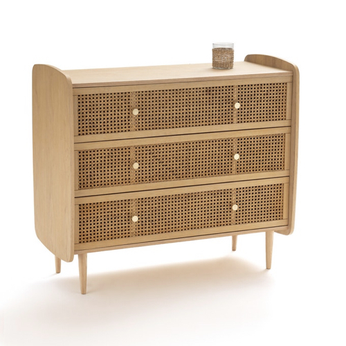 slow deco chambre commode cannage 3 tiroirs