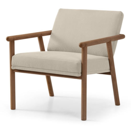 fauteuil vintage mid century bois et creme