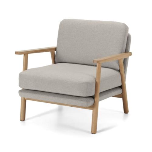 fauteuil mid century beige élégant