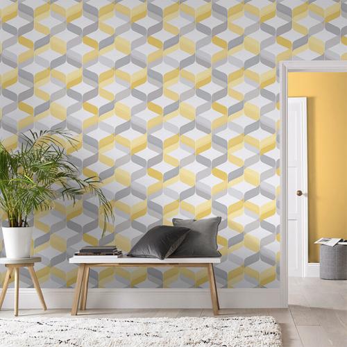 papier peint déco jaune blanc gris