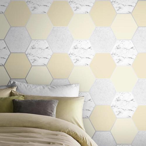 papier peint jaune et couleur neutre moderne