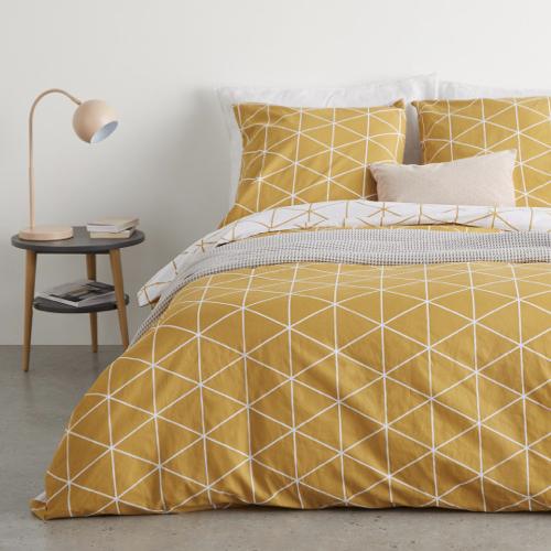 parure de lit jaune motif geométriques