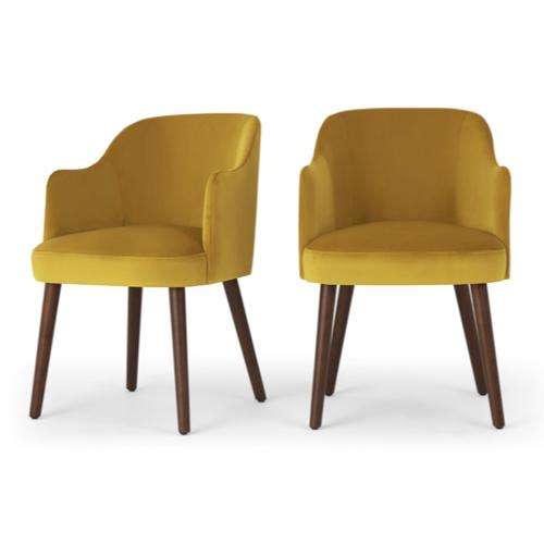 fauteuil salle a manger velours jaune