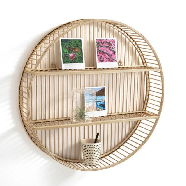 étagère déco ronde murale bois
