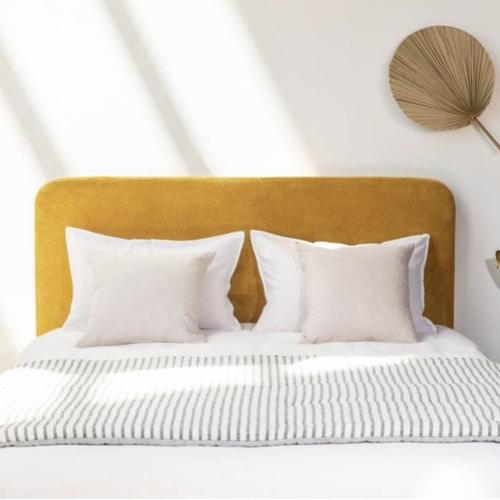 petite tête de lit velours jaune