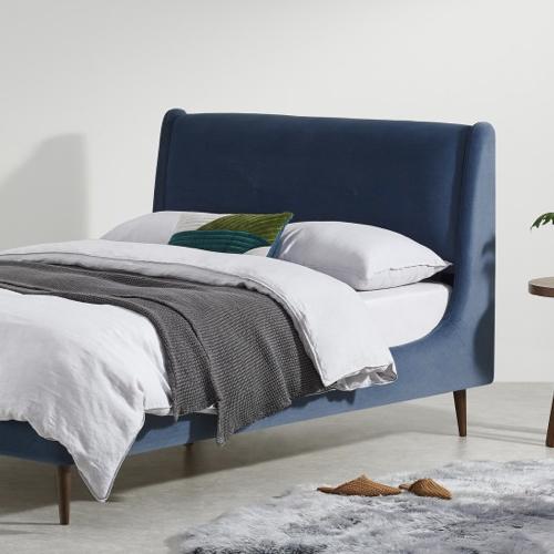 lit et tête de lit velours bleu