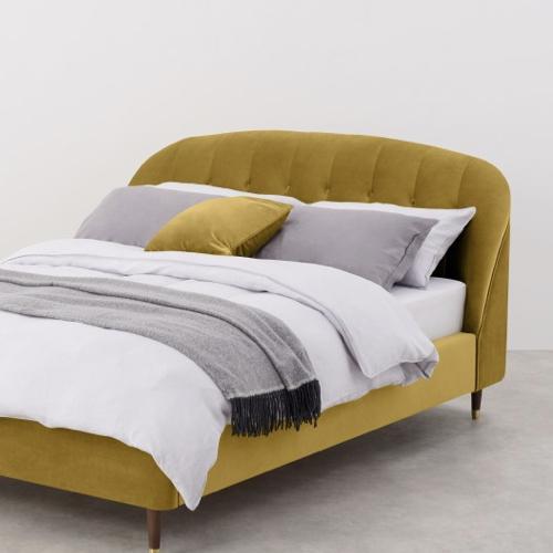 lit et tête de lit velours jaune moutarde