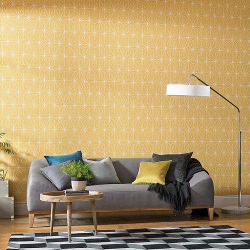 papier peint jaune motif geometrique tendance
