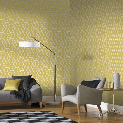 papier peint jaune clair motif geometrique