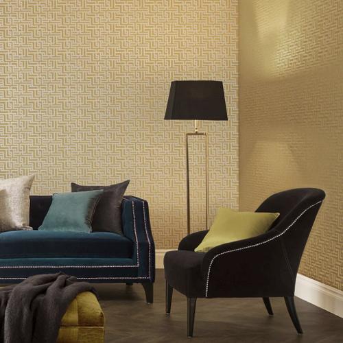 papier peint classique jaune salon