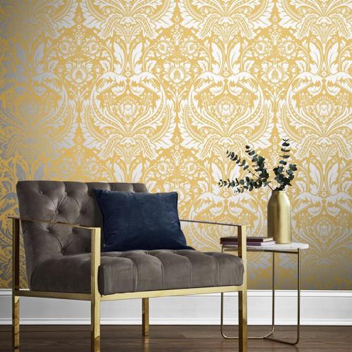 papier peint motif baroque jaune salon
