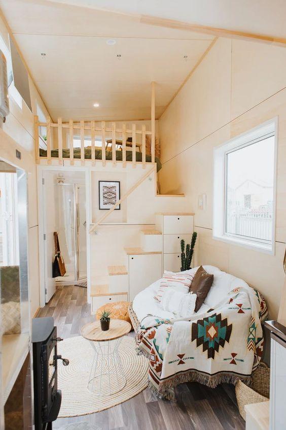 Petit et génial - tiny house mezzanine