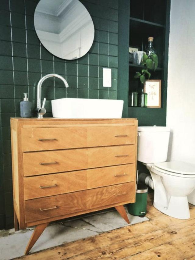 recup commode mid century meuble vasque salle de bain