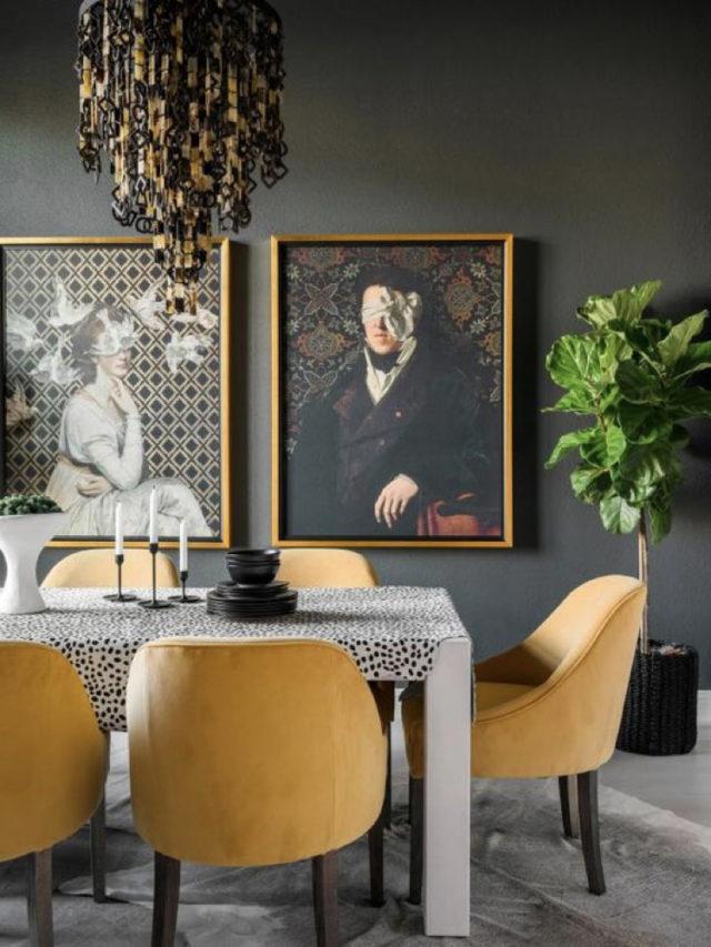 décoration salle à manger anthracite et jaune