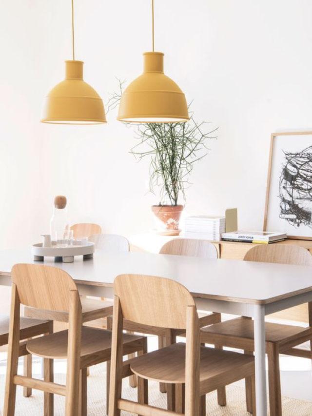 salle à manger moderne blanc et jaune