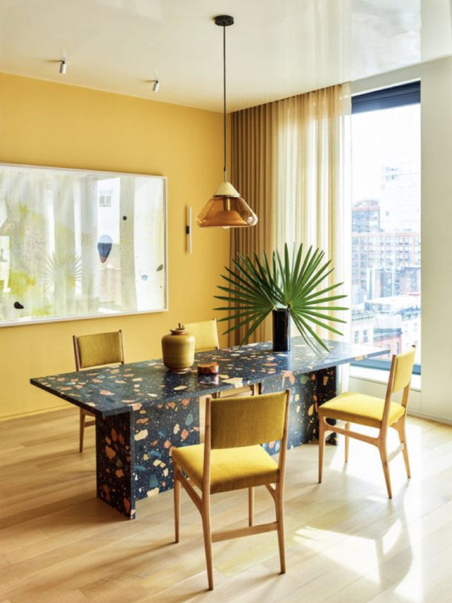 salle a manger jaune table terrazzo