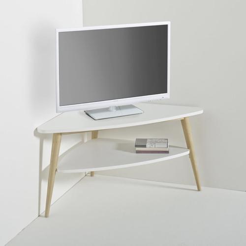 petit meuble télé blanc angle scandinave