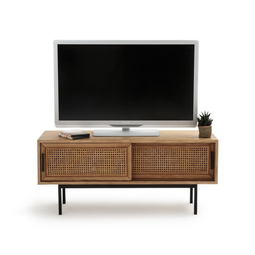 petit meuble TV déco cannage