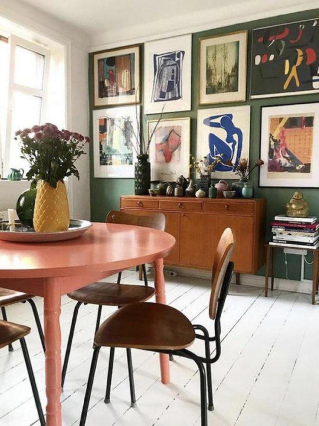 déco vintage buffet mid century peinture vert cadres arty