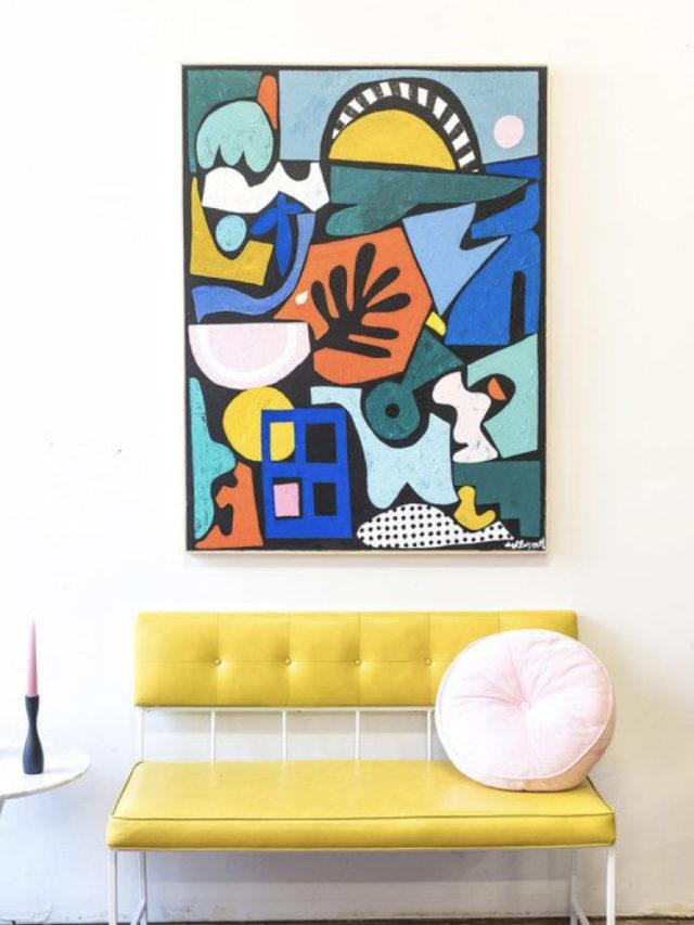 art contemporain intérieur arty siège jaune