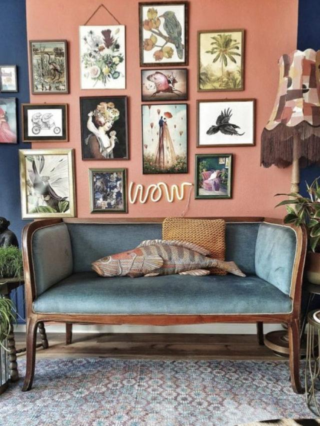 style arty rétro canapé velours patchwork cadre
