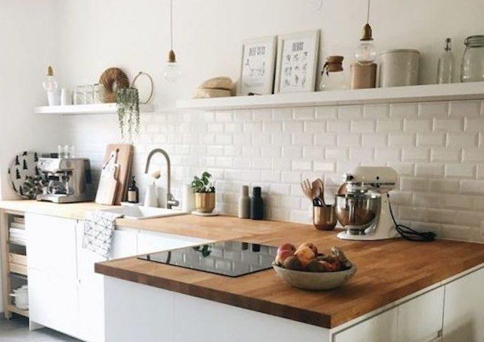 cuisine slow blanc et bois idee decoration