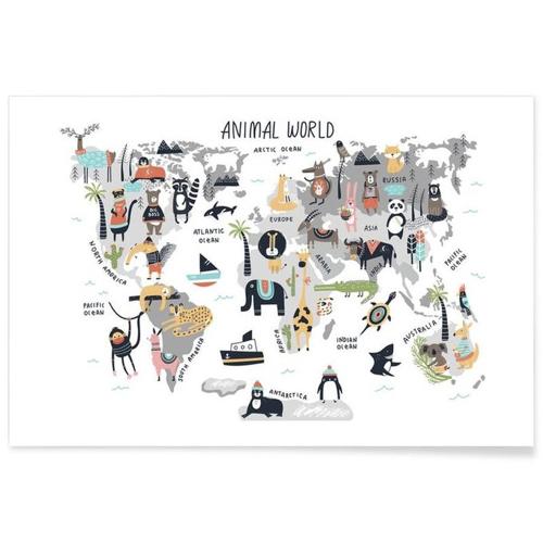 affiche deco cadeau à offrir enfant carte du monde