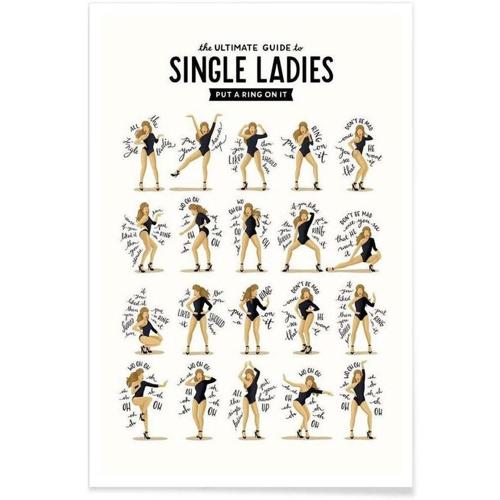 cadeau deco offrir jeune couple poster single ladies