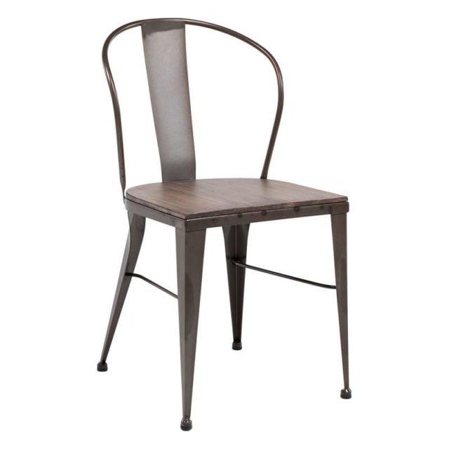 coin repas 4 pieds chaise industriel bois et métal