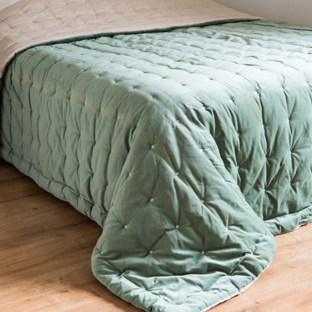 couvre lit vert sauge maisons du monde velours