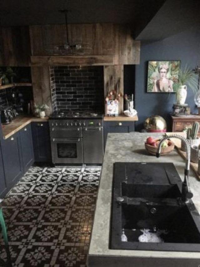 cuisine decoration style rock plan de travail béton ciré