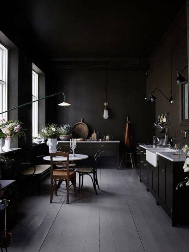 cuisine decoration style rock mobilier noir mur noir