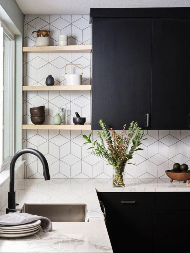cuisine decoration style rock mobilier noir carrelage moderne