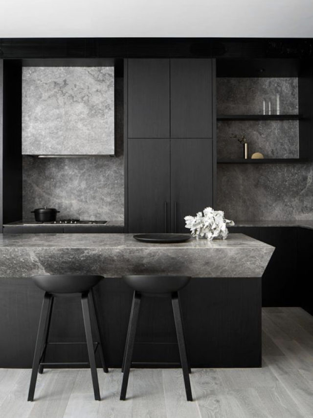 cuisine decoration style rock mobilier noir béton ciré