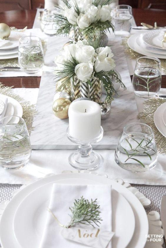 deco noel blanc exemple table
