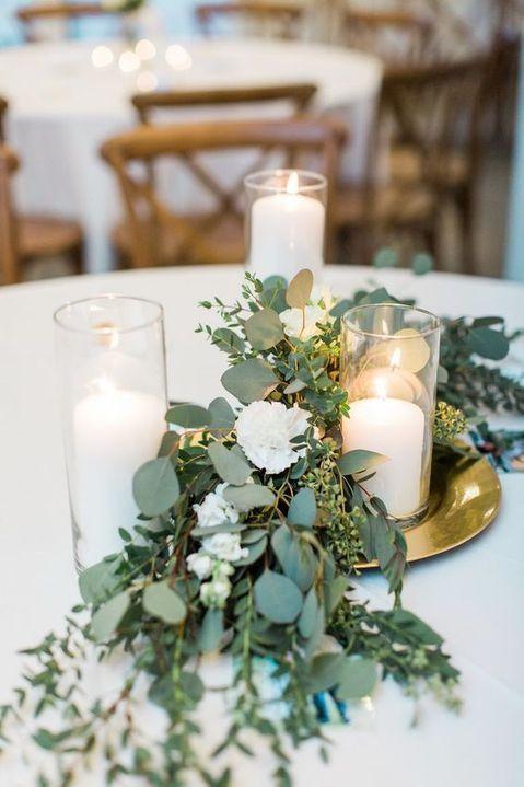 centre de table fêtes bougies eucalyptus