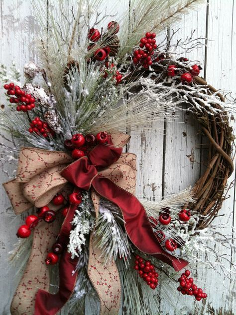 deco noel couronne rouge exemple