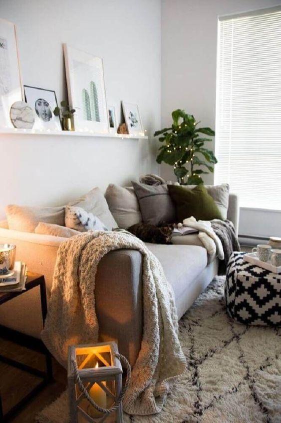 decoration hygge salon moderne canapé gris