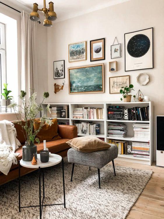 decoration hygge salon moderne canapé cuir