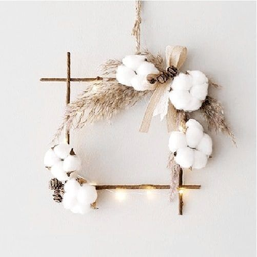 couronne noel fleur de coton
